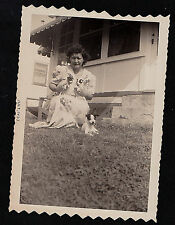 Vintage Antique Photograph Woman With Tinsy Puppy Dogs in Arms - Puppy on Ground
