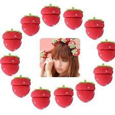 12pcs Women Red & Green Cute Strawberry Soft Sponge Hair Curler Roller Balls -JJ