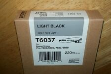 05-2015 GENUINE EPSON T6037 LIGHT BLACK 220ml INK STYLUS PRO 7800 9800 7880 9880