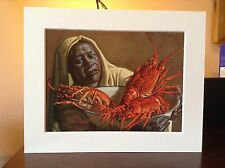 ORIGINAL RARE Tretchikoff Crawfish Seller 1960s - Vintage Mounted Art Print