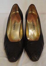Botega Veneta black retro heels pumps shoes sz 9.5 woven toe