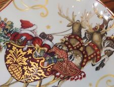 set/4 New Williams Sonoma Twas Night Before Christmas Santa Sleigh dinner plates