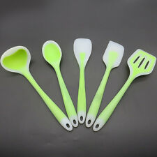 Great Silicone Kitchen Cooking Set Spatulas Spoon Slotted Turner Ladle 5Pcs