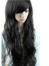 Womens Girls Long Black Natural Hair Curly Wig Cosplay Party Fancy Dress Wig
