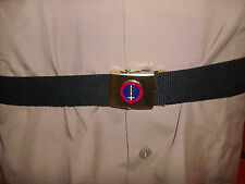 US MILITARY STYLE BLACK WEB BELT WITH 6TH MARINE CORPS BRASS BUCKLE