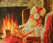 """Oil Painting On Stretched Canvas 20""""x 24""""- Santa by the Fire"""