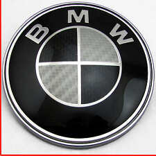 BMW 1 3 5 7 Z3 Z4 X3 X5 SERIES BONNET BADGE BLACK CARBON FIBER LOGO EMBLEM 82mm