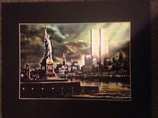 New York City Statue of Liberty Twin Towers Art Print 16x20