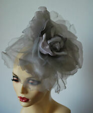 "LARGE 12"" DIAMETER SILK FLOWER FASCINATOR IN SILVER & LILAC BY HATS2GO NO RETURN"