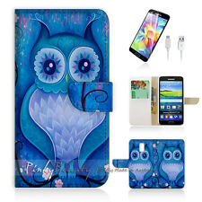 Samsung Galaxy S5 Print Flip Wallet Case Cover! Blue Owl Art P0135