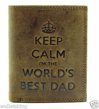KEEP CALM I'M THE WORLDS BEST DAD MENS BROWN DISTRESSED HUNTER LEATHER WALLET