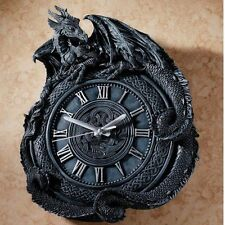 "Penhurst Mythological Gothic Medievel Dragon 17½"" Resin Wall Clock"