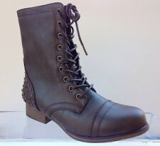 MADDEN GIRL by Steve Madden GALLYYY brown Sz 7.5 studded midcalf combat boots!!