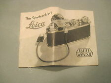THE SYNCHRONIZED LEICA INSTRUCTION MANUAL