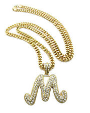 Hip Hop Iced Out Letter M Initial Alphabet Pendant Crystals Gold Cuban Chain NEW
