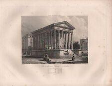 1890 VICTORIAN print ~ la maison Carrée Nîmes avec plan