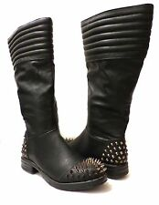 Bumper Black Faux Leather Spike Studded Mid Calf Boots Moto Steam Punk Goth US 6