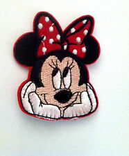 "2.5"" Embroidered Minnie Mouse Face w/red polka dot bow Iron On Applique patch"