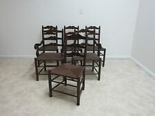 6 Antique Rush Seat Ladderback Side Arm Chairs