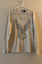 New Harley-Davidson women thermal sweatshirt long sleeve studded eagle size 1W