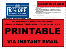 TWO (2x) Lowes 10% off PRINTABLE-Coupon - Valid In-Store or Online exp 04/30/17