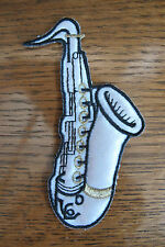 """#3517 4-1/4"""" White,Black Saxophone,Musical Instruments Embroidery Applique Patch"""