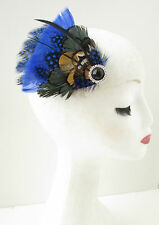 Blue Green Black Art Deco Style Fascinator Hair Clip Royal Ascot 1940s Vtg B54