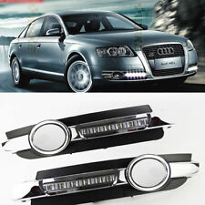 2x LED Chrome Daytime Running Fog Lights Lamp DRL Grill For AUDI A6 C6 2005-2008