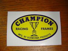 Champion Racing Frames Head Tube Decal Sticker Doug Schwerma BMX Flat Track Oval
