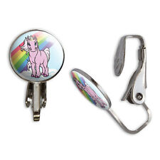 Pink Unicorn on Cloud - Rainbow Pony Clip-On Stud Earrings