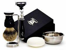 5 PEZZI UOMO Grooming / Set da barba in nero. (badger Spazzola per capelli, Gillette Mach 3)