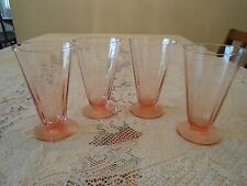 SET OF 4 VINTAGE PINK FOOTED DEPRESSION GLASS TUMBLERS OPTIC FACETED SIDES