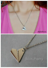Delicate Paper Airplane Design Chain Necklace Cool Chain Alloy Sweater Necklace