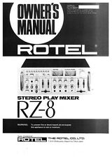 Rotel RZ-8 Mixer Owners Manual