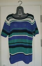 Edinburgh Woollen Mill Short Sleeved Stripey Jumper Size Medium (14-16) - EWM