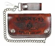 Lucky 13 Iron Horse Brown Born To Lose Skull Chain Wallet Motorcycle Tattoo