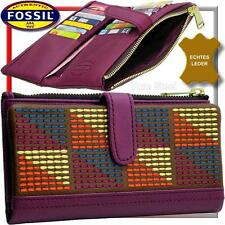 FOSSIL Leder Börse, Damen-Geldbörse, Geldbeutel Portemonnaie Geldtasche groß NEU