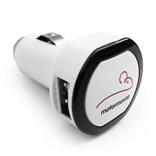 Motormouse Twin 2 Port USB 12V Cigarette Lighter Socket Car Charger  - White