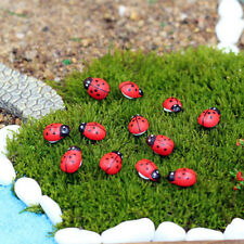 50Pcs Magic Red Beetle Wood Ornament Fairy Doll House Garden Decor Mini Ladybug