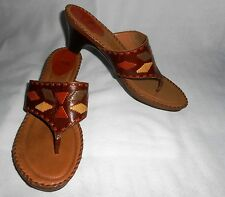 NURTURE BOONE Size 9 M SANDALS WOMENS SHOES THONGS LOW Heel Leather Brown Clogs