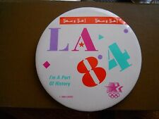 Vintage Official 1984 Olympics Welcome LA84 ( Arabic heading) pin-back button