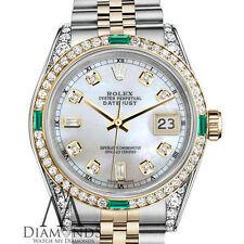 Women's Rolex Steel&Gold 31mm Datejust Watch White MOP 8+2 Emerald Diamond Dial
