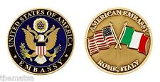 "AMERICAN EMBASSY ROME ITALY CROSSED FLAGS 1.75"" CHALLENGE COIN"