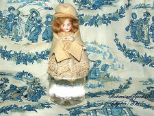 ANTIQUE GERMANY GIRL DOUBLE JOINTED  BISQUE WOOL HAT LACE MINIATURE 4'' DOLL