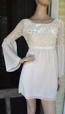 NWT Flying Tomato Ivory Bell Sleeves Empire Waist Romantic Boho Mini Dress XS