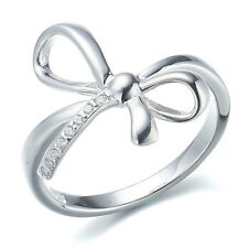 Holy White CZ Infinity Love Bow 925 Sterling Silver Resizable Adjustable Ring