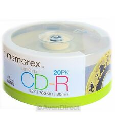 20 Pack Memorex 52X Lightscribe v1.2 Gold Top 700MB CD-R [FREE Priority Mail]