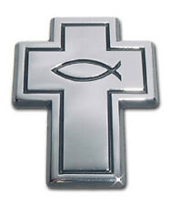 Christian Cross Chrome Metal Auto Emblem: Jesus Fish Car Decal Sticker MVP