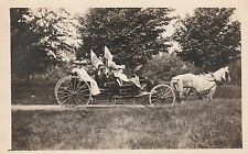 LIBERTY MAINE PARADE CARRIAGE RIDE-RPPC-1916 DIVIDED BACK REAL PHOTO FLAG WAVING