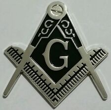 Freemason Masonic cut-out car emblem in silver with solid  Black